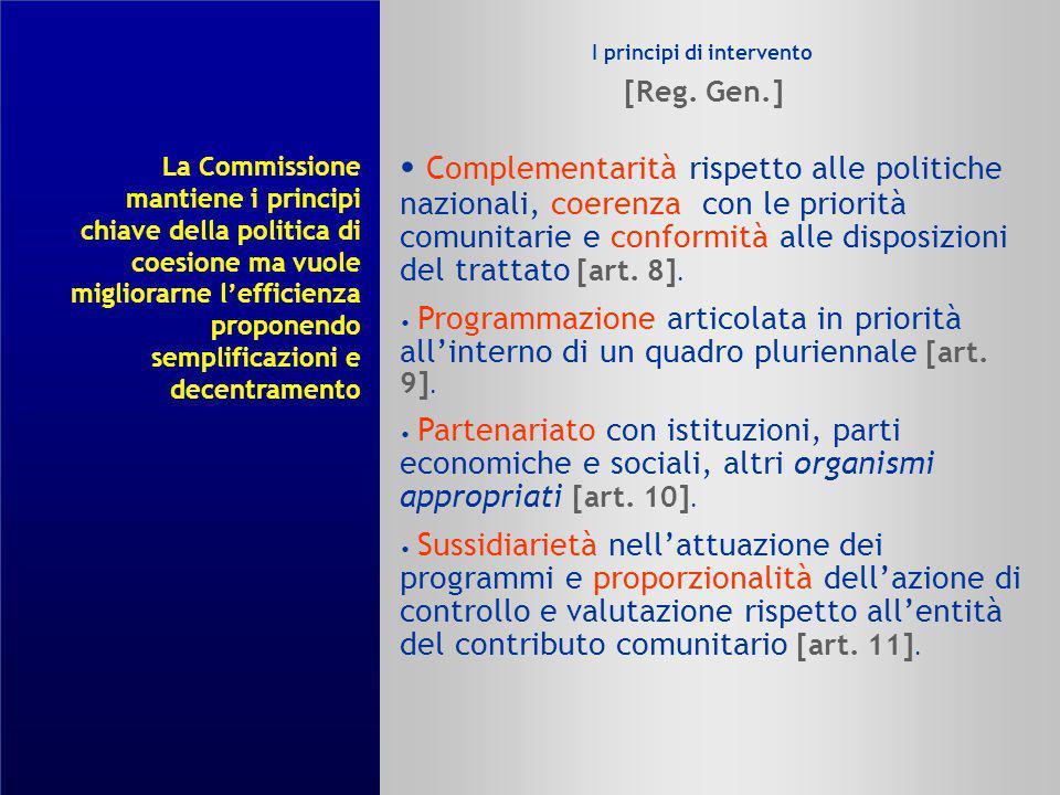 I principi di intervento [Reg. Gen.]